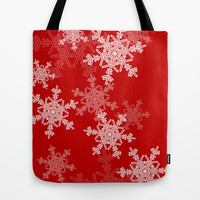 Red snowflakes Tote Bag by Silvianna