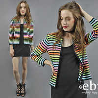 Rainbow Cardigan Rainbow Sweater Rainbow Knit Rainbow Top Pride Shirt 90s Top 90s Sweater Colorful Sweater Striped Sweater Striped Top S