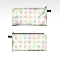 Colorful Polka Fabric Case - zipper pouch pencil art supply carrier small tote clutch hipster dots cute spring summer design bright white