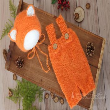 Vintage Orange Newborn Outfit Knit Romper Bonnet Set Baby Girl Overalls Newborn Hat Photography Props