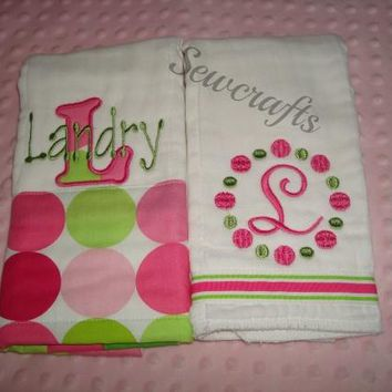 Landry Personalized Burp Cloths Set of 2 Premium Quality 6-Ply Burp Cloths  - Choice of Name