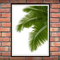 Tropical Leaf Print, Green Palm Art, Palm Art, Palm Leaves, Art Photo, Tropical Prints, Palm Leaf Prints, Tropical Decor, Green Decor *8*