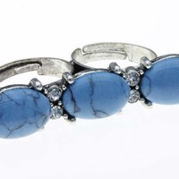 Blue Double Crystal Stone Lusite Bead Ring