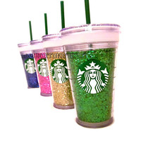 Starbucks Iced Coffee GLITTER Tumbler, Cup, Mug, Customizable, Upcycled.