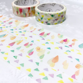 2 rolls Drops pattern triangle pattern Washi tape pretty pattern Masking tape Watercolored rain drop shapes sticker tape colorful sticker
