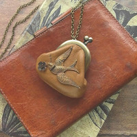 leather purse necklace - camel - brass bird coin purse, tan, bird and flower, swallow miniature puse, anemone fabric
