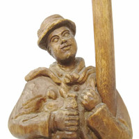 Vintage German Hand Carved Wooden Drunk with Lamp Post | Folk Art Statue | Wood Carving Man Lamp Post  | Primitive Wood Carved Statue