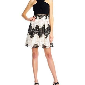 Adrianna Papell Short Floral Cocktail Party Dress