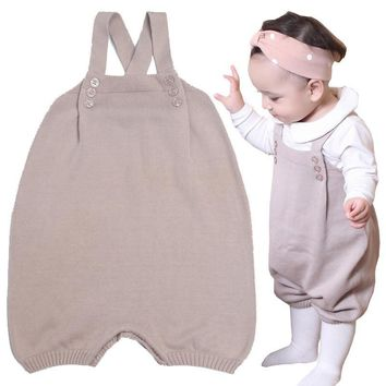 Baby Romper Baby Cotton Knit Jumpsuit Newborn Infant Toddler Romper Spring Autumn Fashion Crocheted Sling Rmper Baby Clothes
