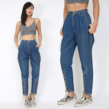 1980s Retro Vintage Jeans | Vintage Dark Blue High Waisted Baggy Small Leg Lace Pleated 80s Gunrge Jeans | Boyfriend Jeans | Size XS