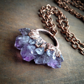 Raw Amethyst Necklace - Electroformed Crystal Necklace - Crystal Necklace - Copper Chain - Boho - Hippie Necklace
