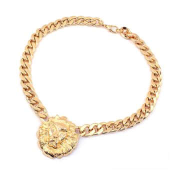 Fashion Women Gold Lion Head Pendant Flat Chain Necklace