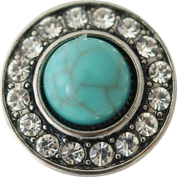 Chunk Snap Charm Turquoise Center with Crystals 20 mm