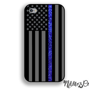 Thin Blue Line Flag w/ Glitter Phone Case for Apple iPhone 5, 5c, 6 and 6 plus & Samsung Galaxy and Phone Stand