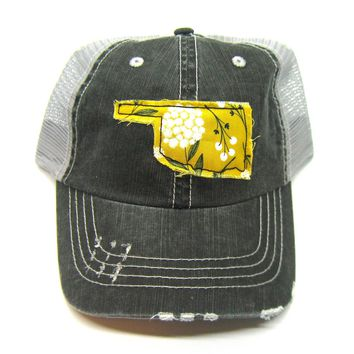 Black and Gray Distressed Trucker Hat - Mustard Yellow Floral Applique - Oklahoma - All United States Available