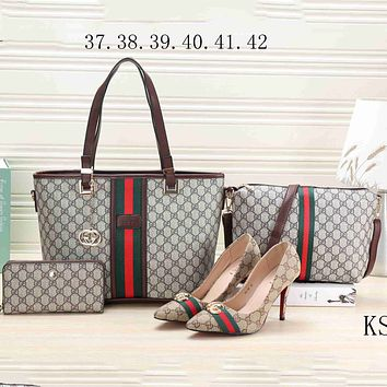 GUCCI 2018 Trendy Women Fashion Brand Four-piece Fashionable F-KSPJ-BBDL coffee