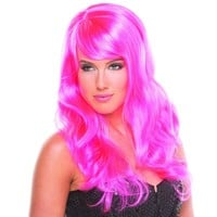 Hot Pink Solid Color Wavy Burlesque Bangs Wig