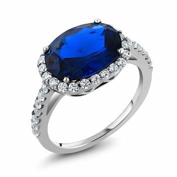 4.03 Ct Oval Cut Simulated Blue Sapphire 925 Sterling Silver Engagement Ring