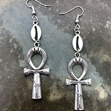 Egyptian Ankh and cowrie shell dangle earrings