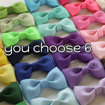 Tuxedo Hairbows, You Choose 6, Custom Colors, Basic Hairbows, You Choose Color, Tuxedo Bow, Bow Tie Hairbows, Pigtails, Toddler Size
