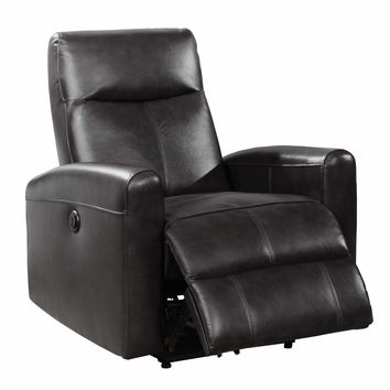 Eli Collection Contemporary Leather Upholstered Living Room Electric Recliner Power Chair, Black