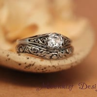 White Sapphire Filigree Engagement Ring Set with Fitted Floral Band in Sterling - Delicate Filigree Wedding Set with Tendril and Vine Band