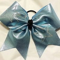CHEERLEADING BOW - COPEN BLUE METALLIC wiith Scattered falling stars (silver center) FULL CHEER BOW - BIG 3 inch wide base Cheer bow on elastic PONY-O team orders available by request