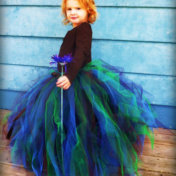 Peacock Couture Sewn Tulle Tutu Skirt - Blue Green Plum Brown - newborn through age 12 - flower girl, birthday, photography prop