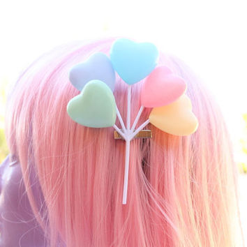 Fairy Kei Pastel Hearts Balloon Hair Clip