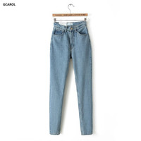 Women Brand High Waist Denim Jeans Slim Casual Vintage Pencil Jeans Spring Autumn High Quality Pants Plus Size 29 For Girls
