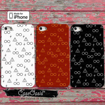 Glasses Lightening Bolt Wand Pattern Red Gold White Black Cute Cool iPhone 4/4s Case and 5/5s/5c Case and Wallet Case and iPhone 6 and 6 +