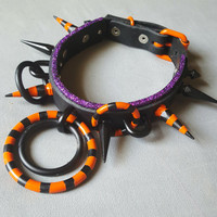 Spoopy- Genuine Latigo Leather Halloween Goth Spiked O Ring DDLG Collar