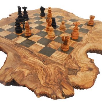 Unique Olive Wood Rustic Chess Board, Custom Engraved Wooden Che