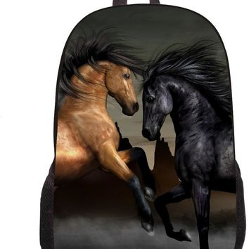 Supreme Women Men Casual Laptop Backpack Animal Horse Printing Shoulder Backpack Girls