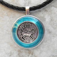 Aries necklace: blue - mens necklace - mens jewelry - astrology - boyfriend gift - zodiac - birthday gift - leather necklace - unique gift