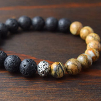 Opposites Attract! Men's 10mm Beaded Bracelet. Men's Fashion Bracelet. Men's Lava Stone and Jasper Bracelet. Lotus and Lava Bracelet.