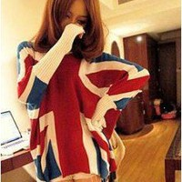 Winter Woolen Loose Bat Sleeves England Flag Sweater