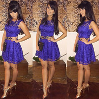 Purple Lace Sleeveless Mini Dress