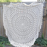 "Vintage Large Crocheted Tablecloth,98""  Huge Round Table Cover,Cream Crochet Table Linen,Bed Cover,Cottage Chic Vintage Linens,Boho Decor"