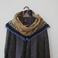 Woman Woodland Capelet, Soft Marino Knit Large Chunky Cowl, Knitted Wrap Scarf, Outland Inspired Short Shawl, Patchwork Colorful Knit Collar