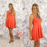 Seize the Day Dress in Coral