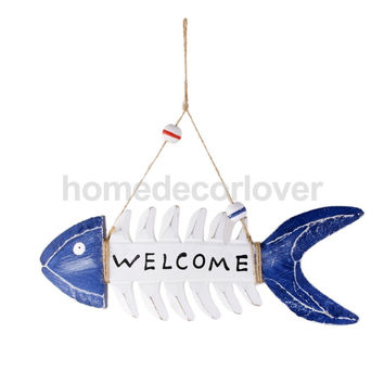 WELCOME Wooden Fish Skeleton Wall Hanging Home Shop Nautical Decoration 10""