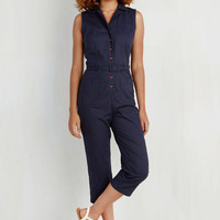 Military Mid-length Sleeveless High Waist Album Cover to Cover Jumpsuit by ModCloth