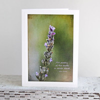 Lavender with Inspirational Quote Photo Greeting Card, Nature Photography, Quote by John Keats, Fine Art Photography, Any Occasion Card