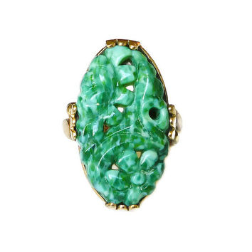 Clark and Coombs Ring Jade Glass 10K Gold Filled Antique Vintage Jewelry