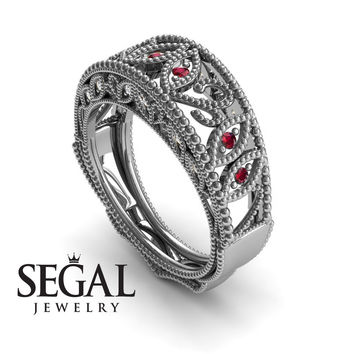 Unique Engagement Ring 14K White Gold Vintage Art Deco Edwardian Ring Filigree Ring Ruby With White diamond - Gianna