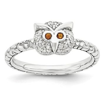 Sterling Silver Stackable Expressions Garnet & Diamond Owl Ring