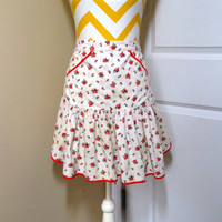 Vintage Red Rose Cotton Kitchen Apron with Red Binding Trim, Circa 1950s