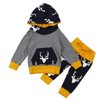 Baby Boy Deer Head Hoodie & Pant Set