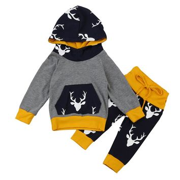 &Winter Baby Boys Girls Clothes Set Warm Outfits Deer Tops Hoodie Top + Pants Leggings Cute Animals Kids Baby Clothes